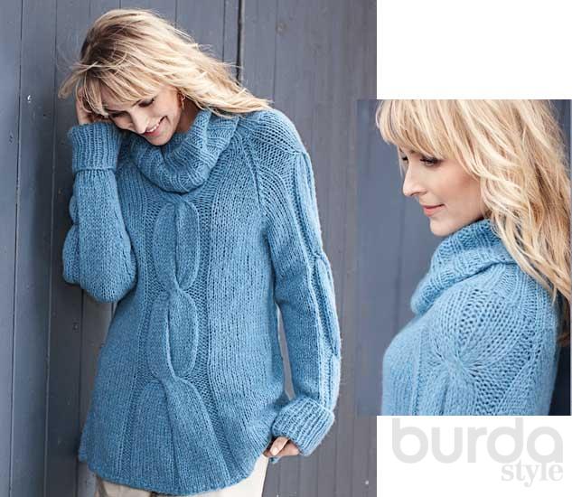 свитер с крупными косами схема вязания спицами вяжем свитеры на