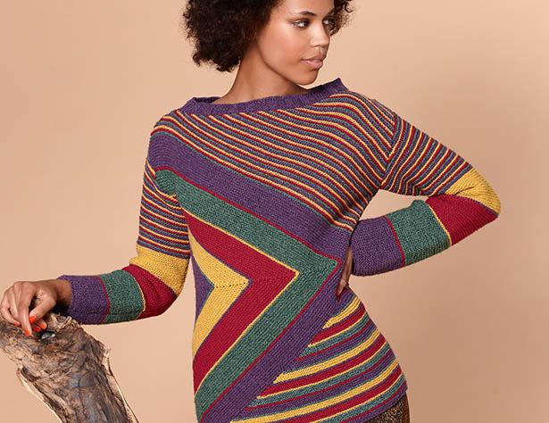 Разноцветный джемпер в полоску - схема вязания спицами. Вяжем Джемперы на Verena.ru
