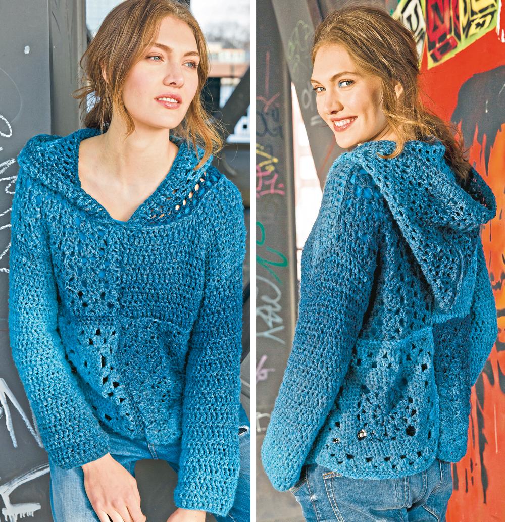 Ажурный пуловер с капюшоном