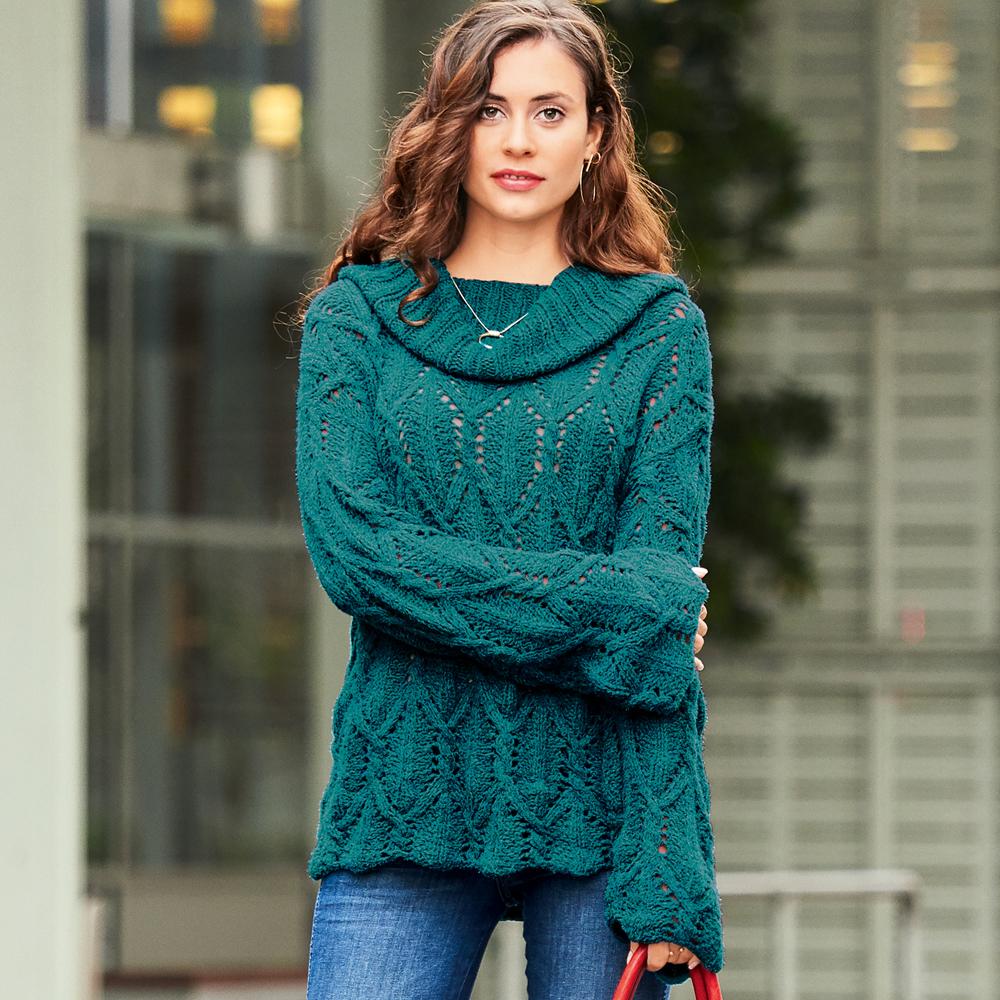 30bba2c96e9c Иссиня-зеленый свитер с узором из «кос» - схема вязания спицами ...