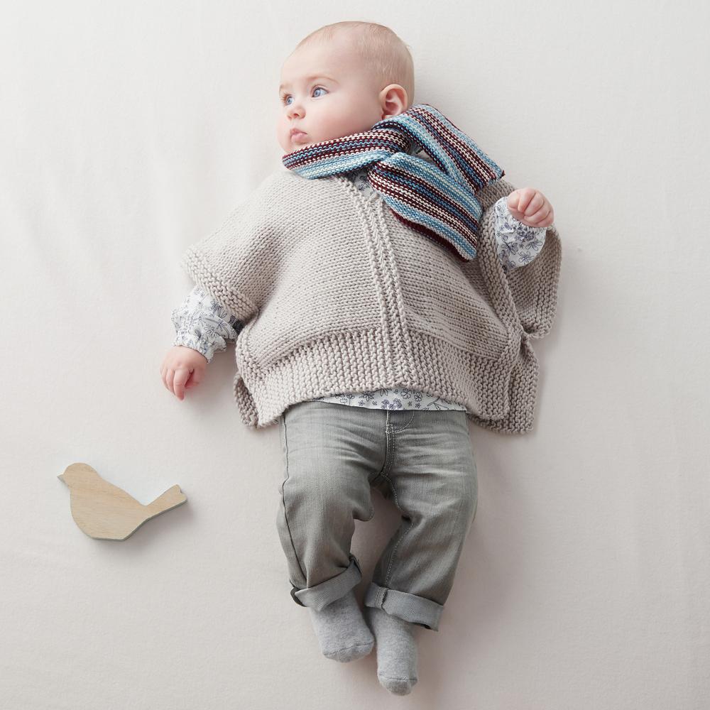 Пончо и шарф в полоску для малыша