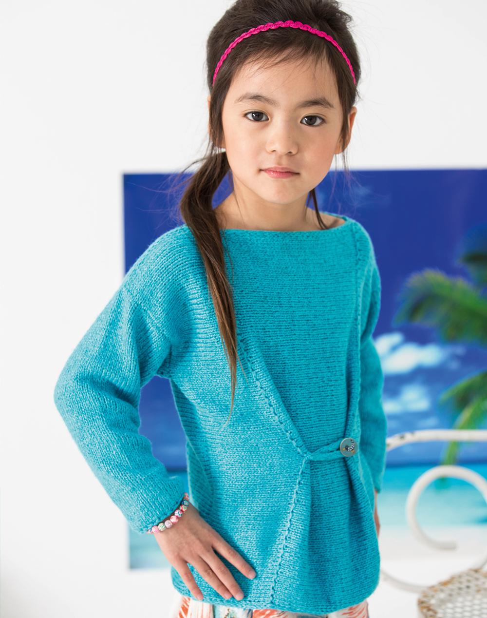 Синий джемпер с декоративной пуговицей