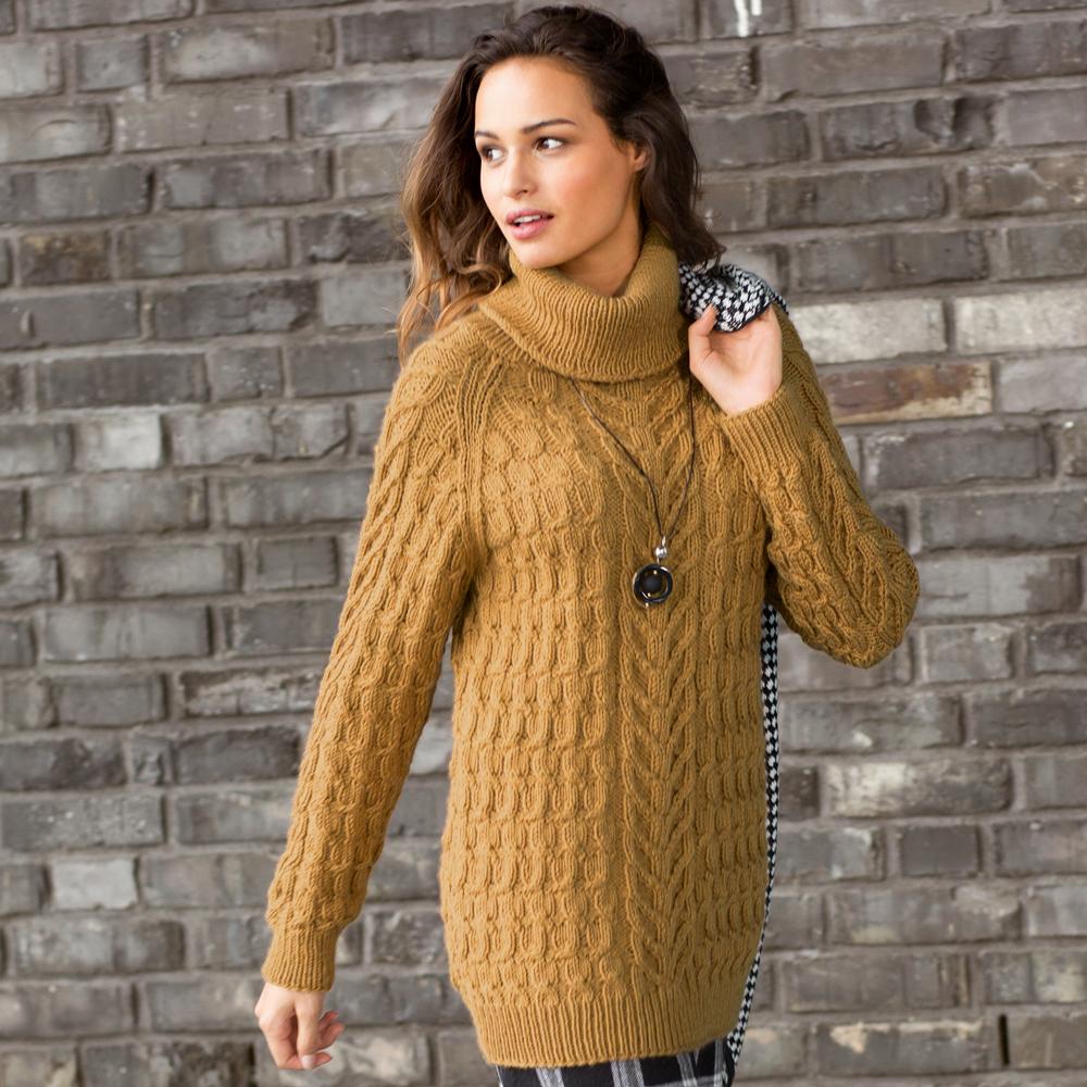 свитер с косами цвета охры схема вязания спицами вяжем свитеры