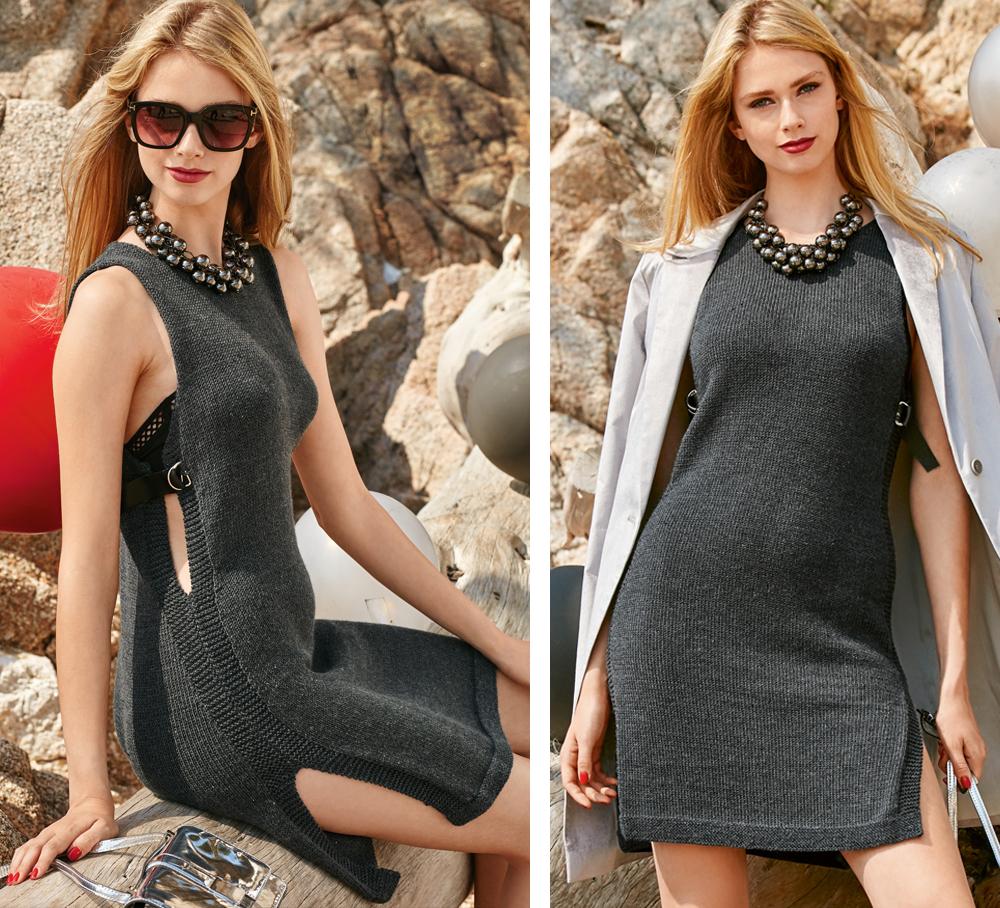 платье туника с разрезами по бокам схема вязания спицами вяжем