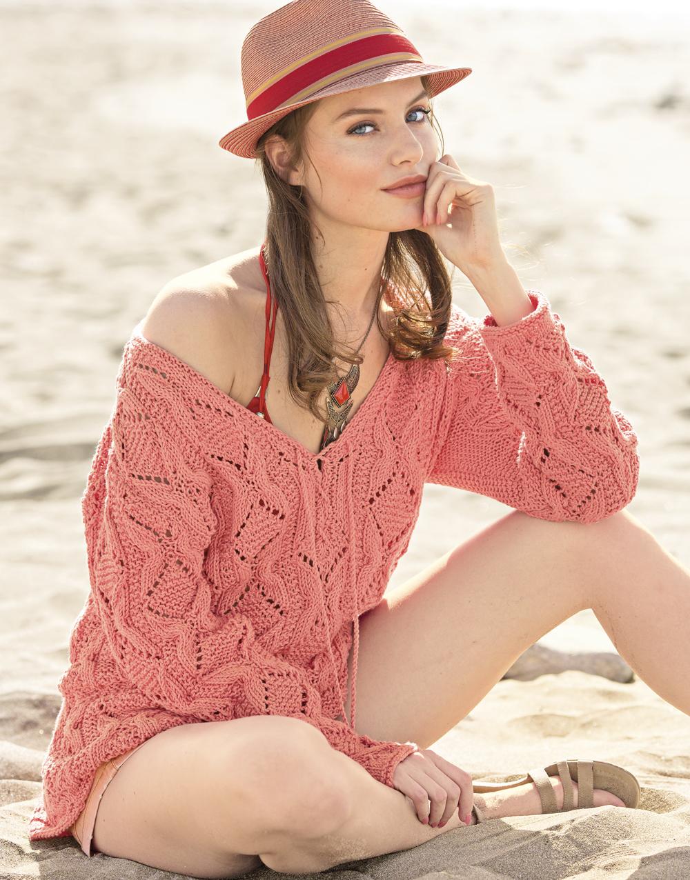 Пуловер со структурным узором