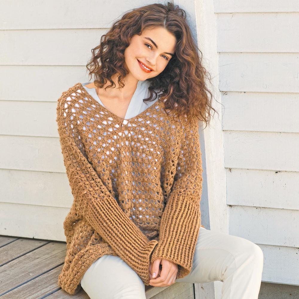 Ажурный объемный пуловер