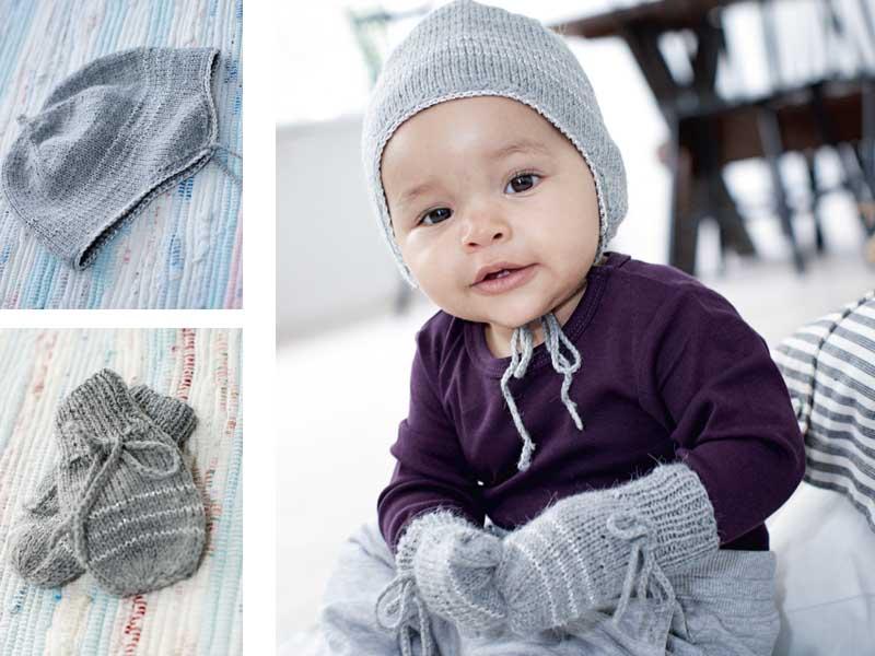 комплект из шапочки и варежек для малышей схема вязания спицами