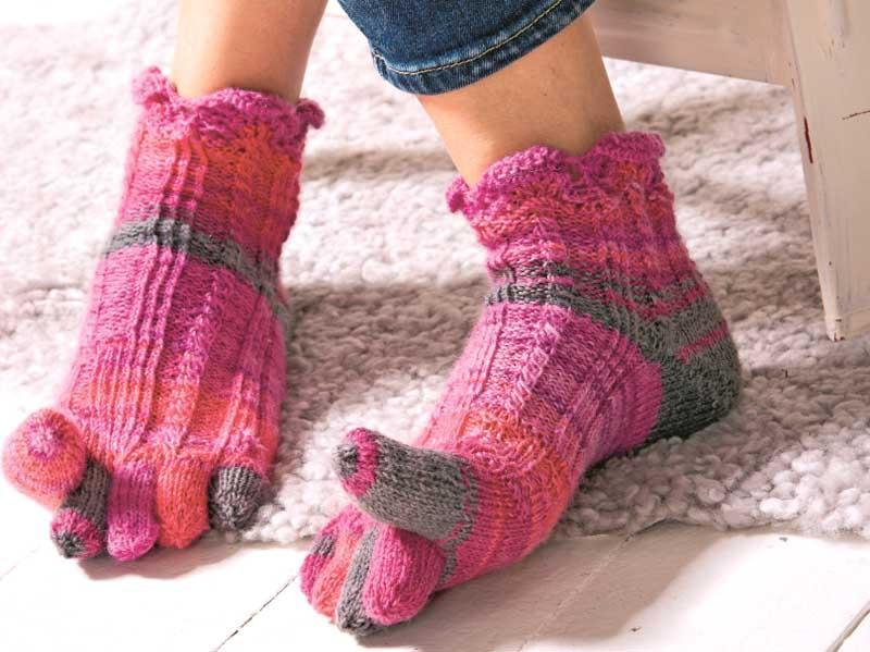 носки с пальцами схема вязания спицами вяжем носки на Verenaru
