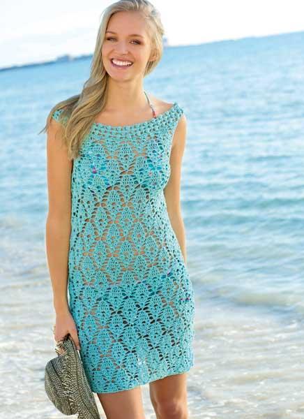 Схемы пляжных платьев вязанных крючком