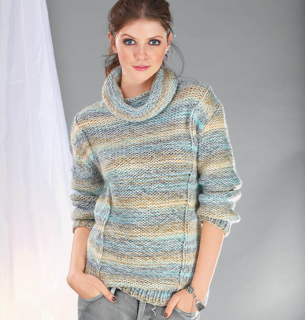 свитер с узором из лицевой и изнаночной глади схема вязания