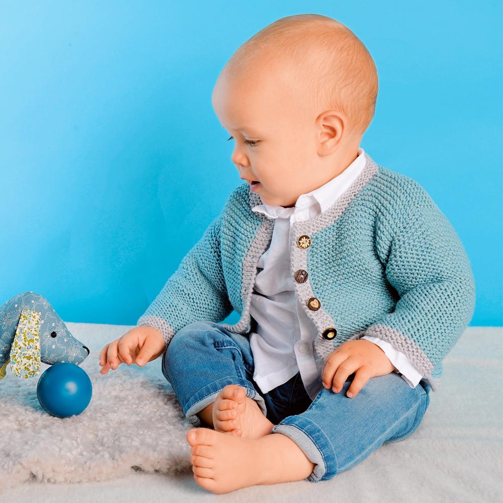 Двуцветный жакет для малыша