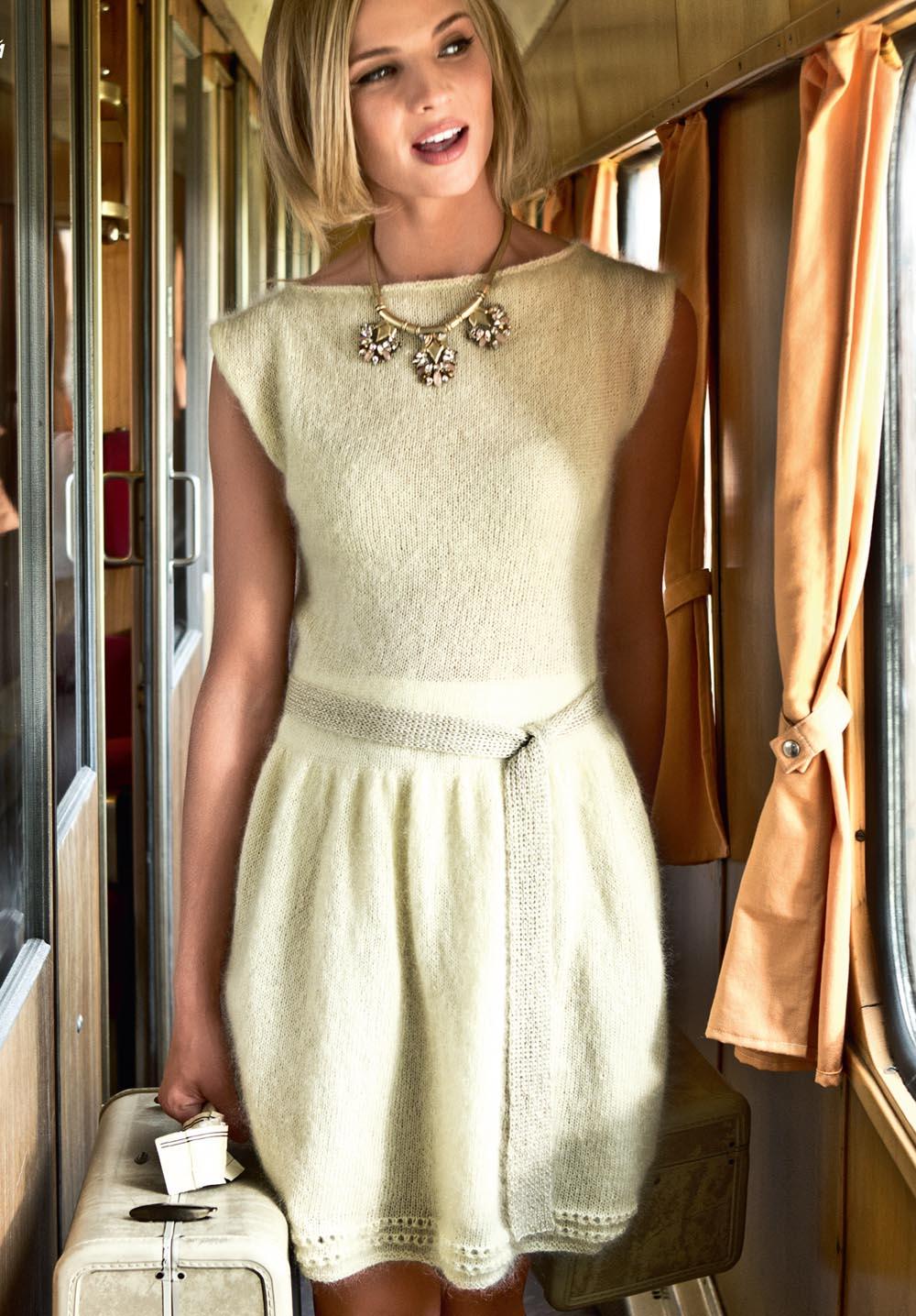Вяжем платье с поясом