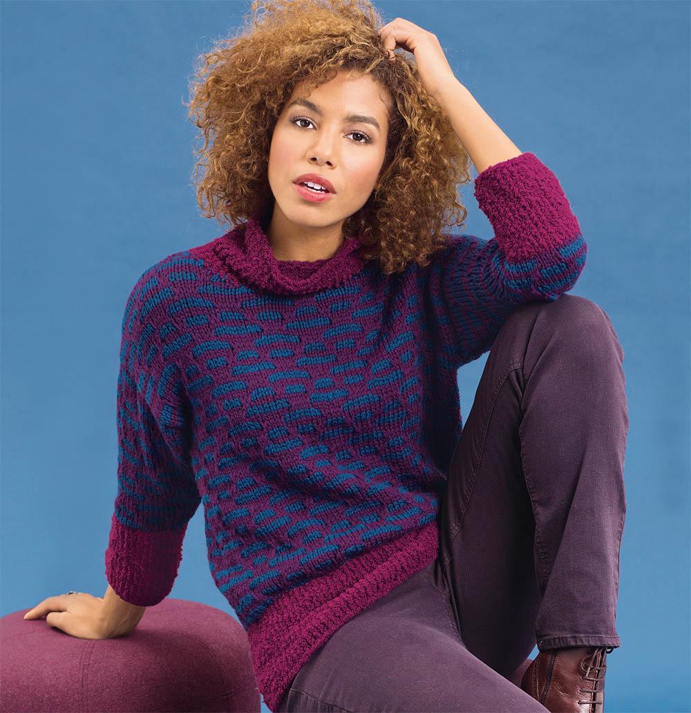 Джемпер с двухцветным графическим узором