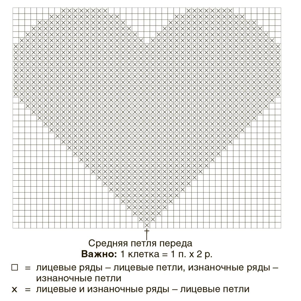 схема вязания узора сердечка спицами