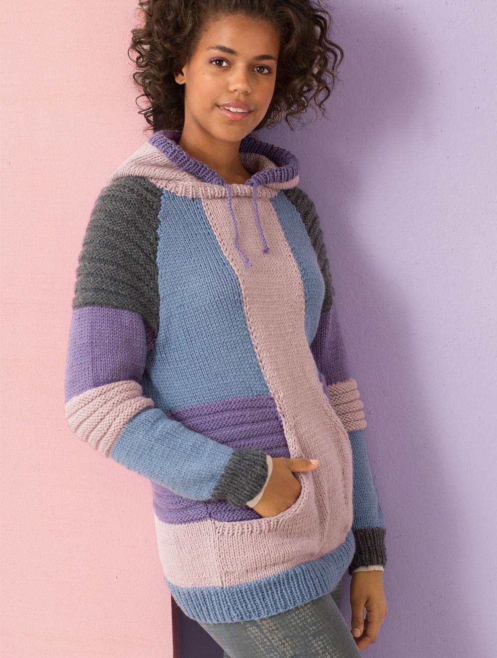 шарф капюшон сиреневый схема вязания спицами