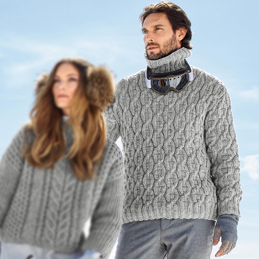 серый мужской свитер с косами схема вязания спицами вяжем
