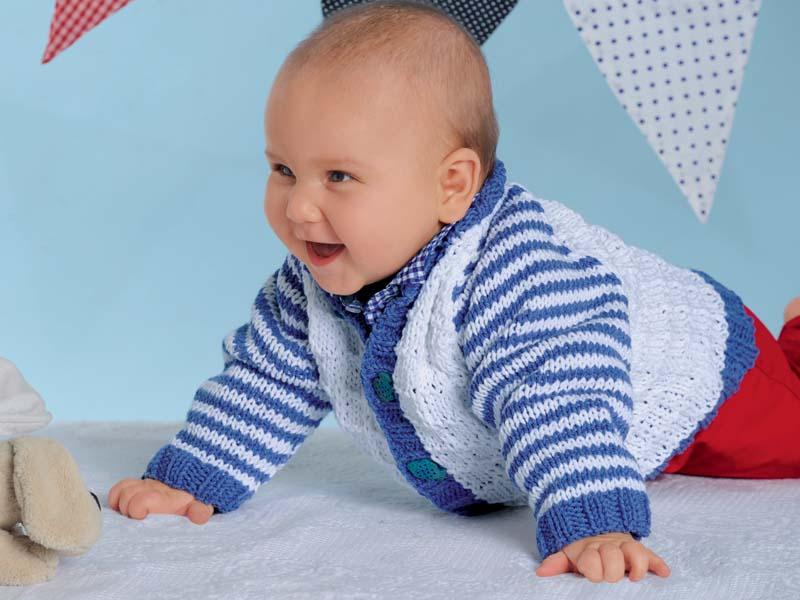 кофточка для новорожденных с рукавами в полоску схема вязания