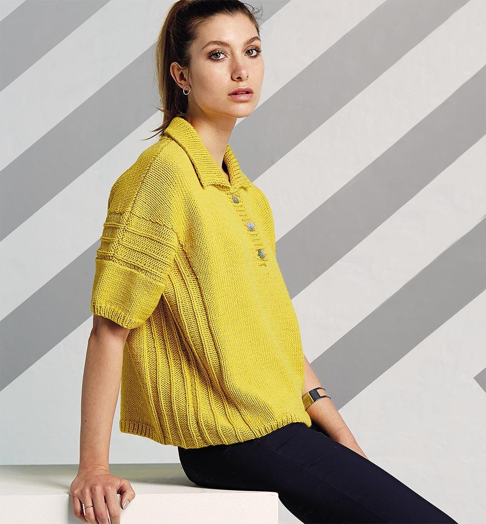 Желтый пуловер-поло