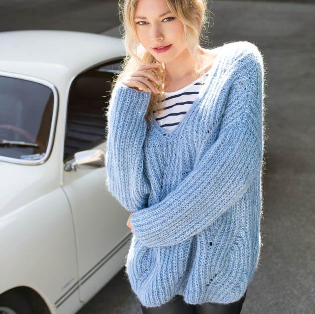 Объемный свитер спицами женский схема