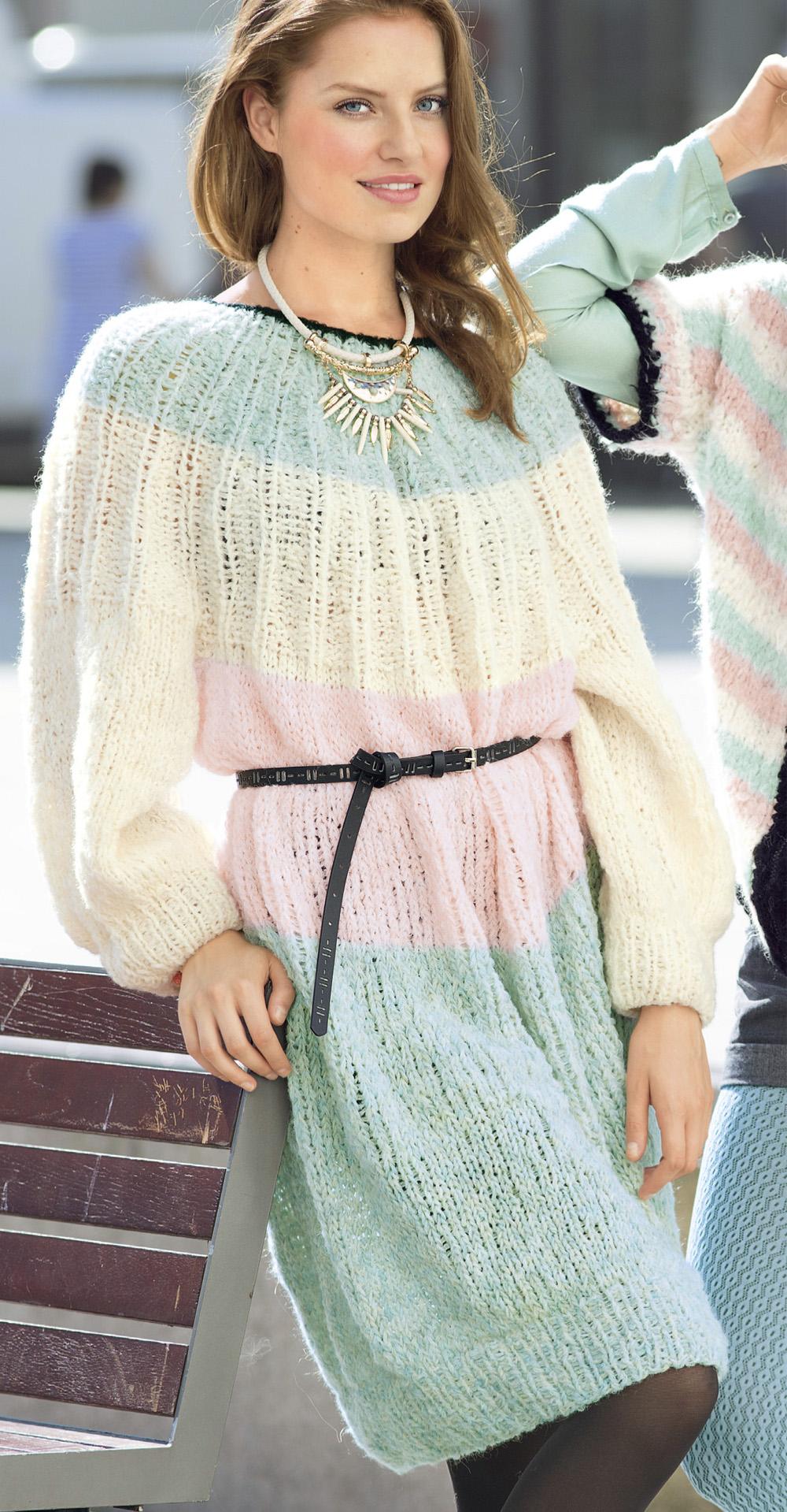 просторное платье с круглой кокеткой схема вязания спицами вяжем