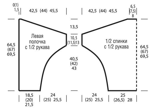 Схема выкройки вязания летучая мышь