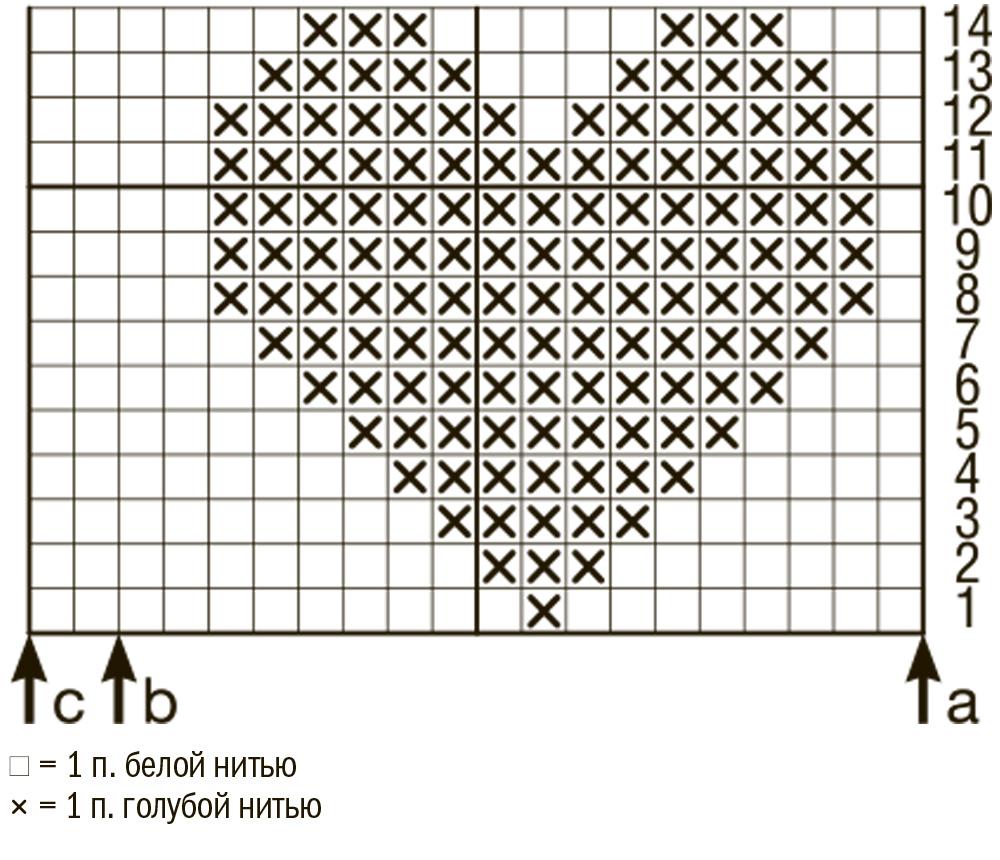схема вывязывания сердечек спицами
