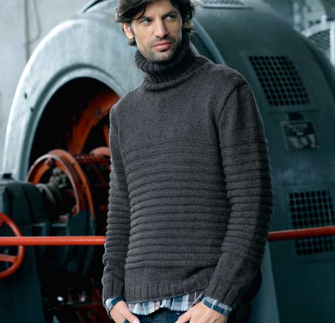 мужской свитер с рельефными полосами схема вязания спицами вяжем