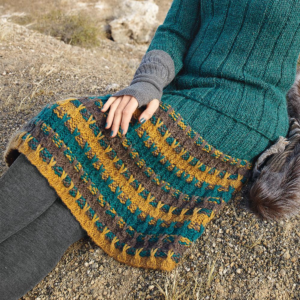 юбка с узором из вытянутых петель схема вязания спицами вяжем