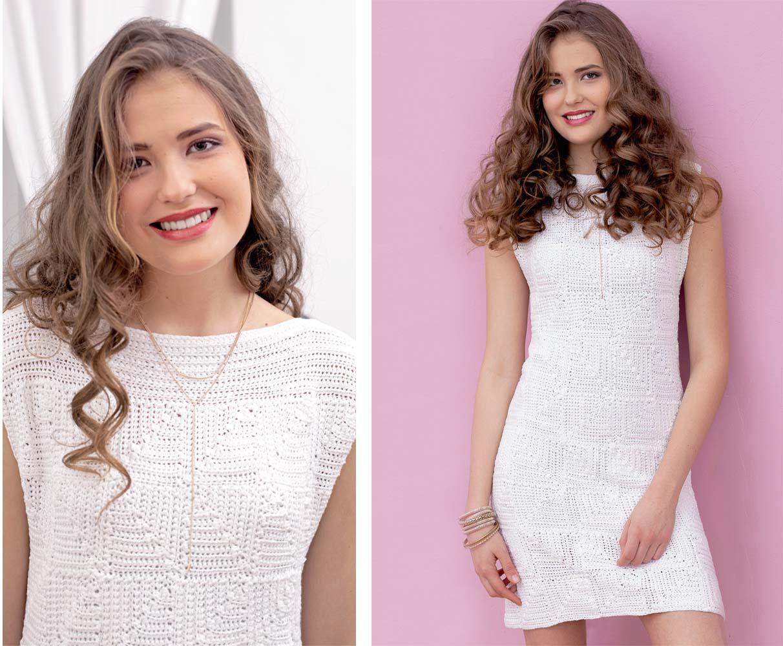 Белое платье с узором из квадратов