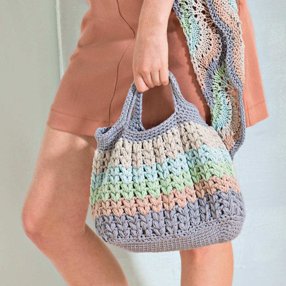 сумка с узором из пышных столбиков схема вязания крючком вяжем