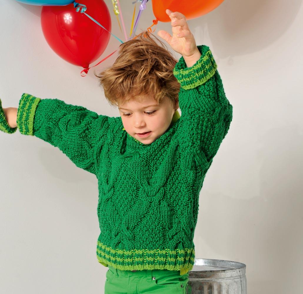 Детский джемпер с «косами» и полосатыми планками