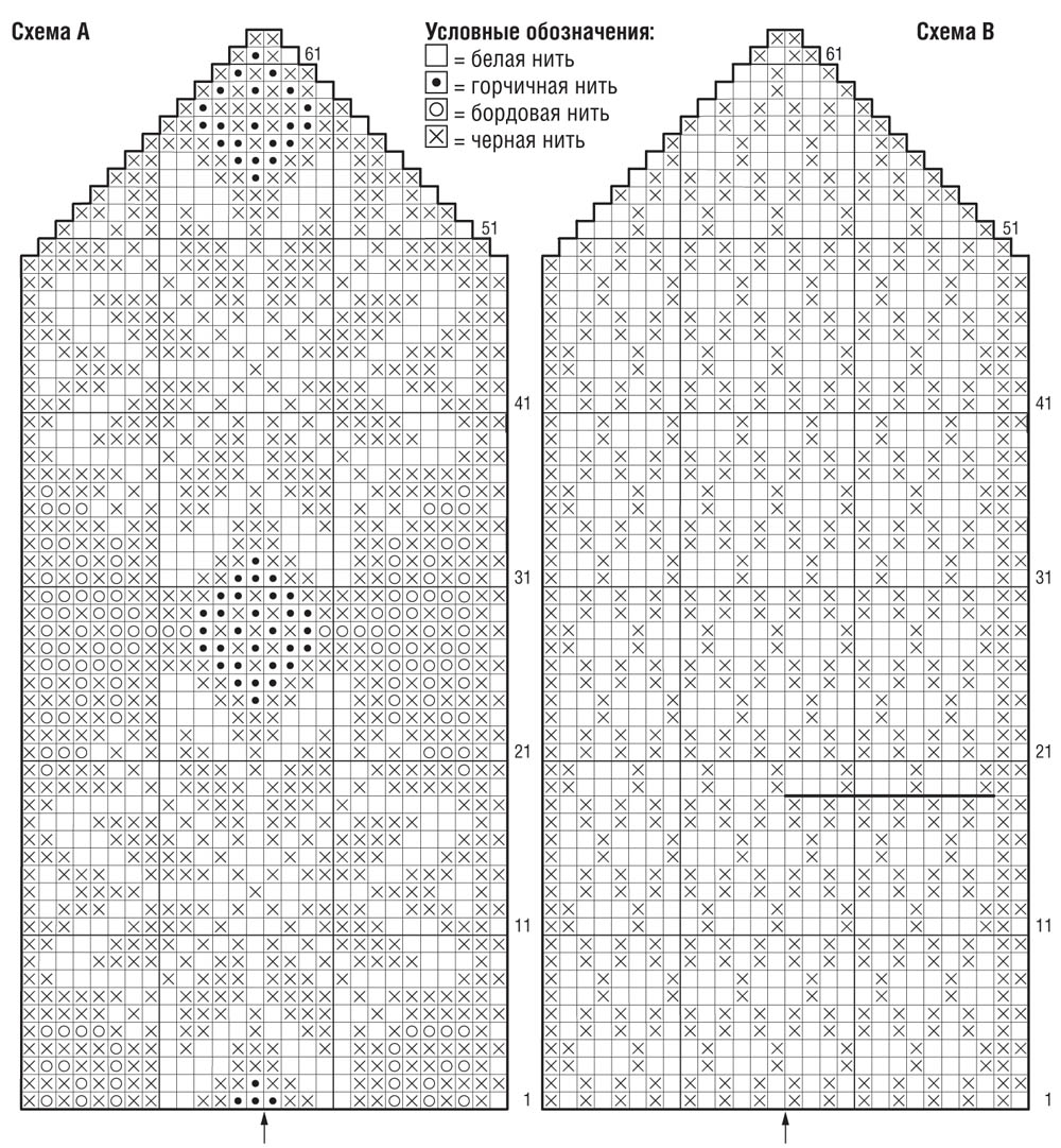 схема вязания узоров на варежках