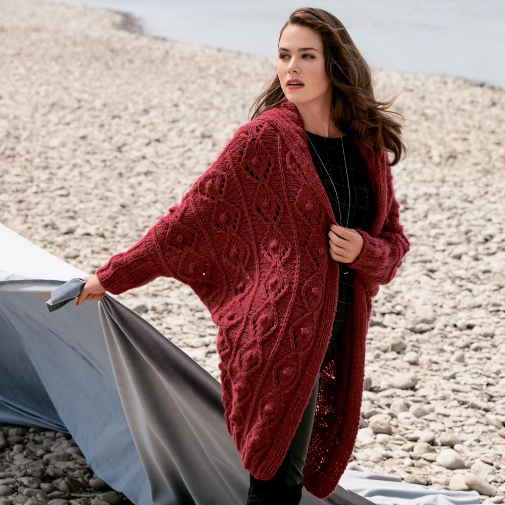 Пальто с рукавом 3/4 - схема вязания спицами. Вяжем Пальто на 53