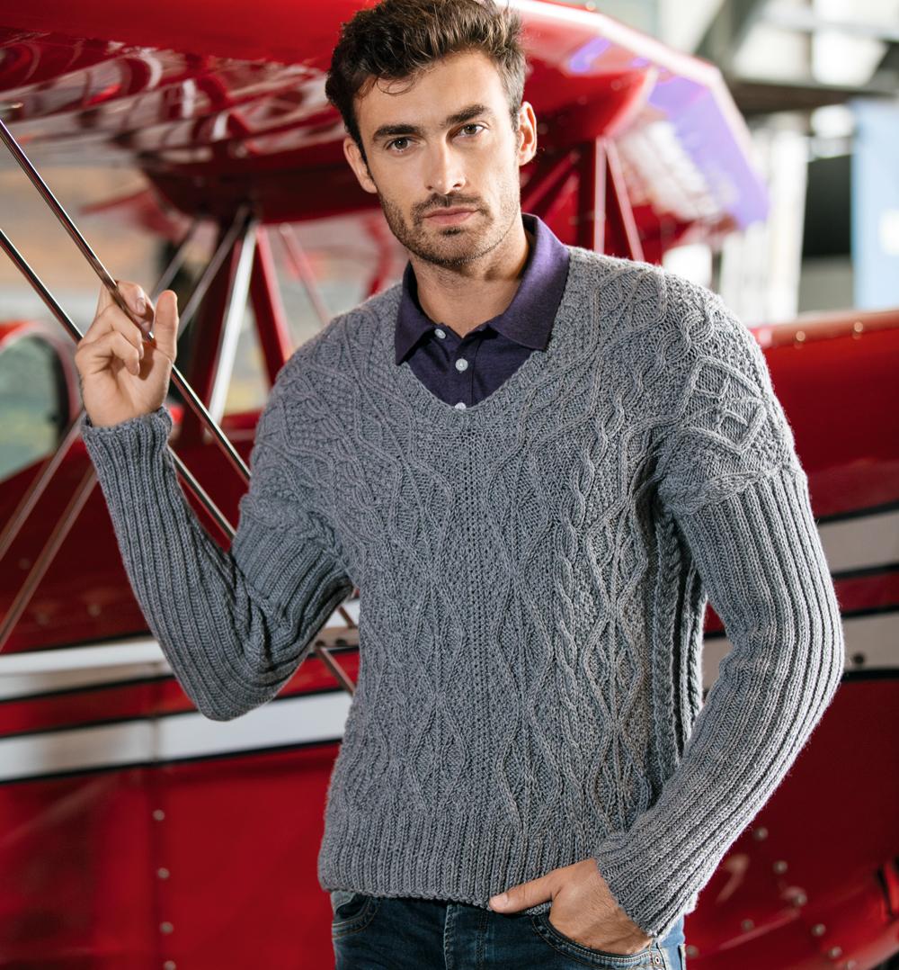 Мужской пуловер с «косами»