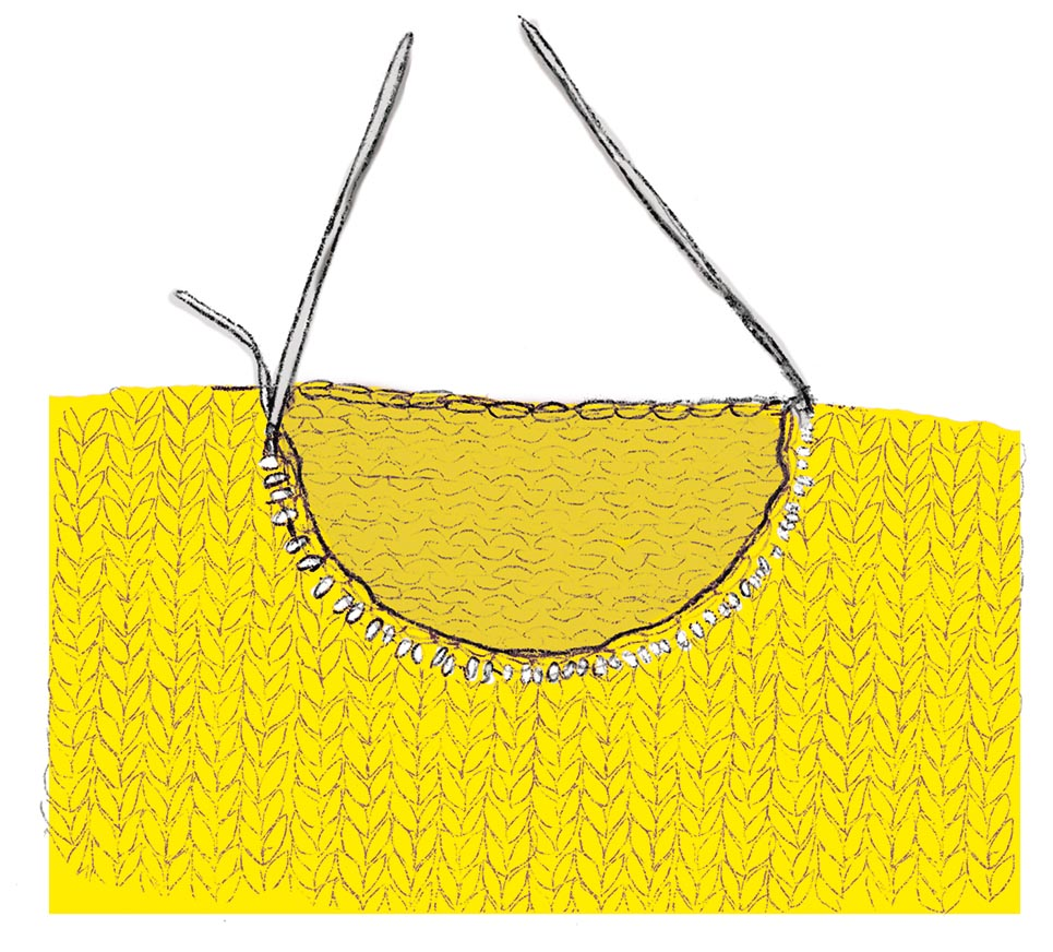 Варианты вывязывания горловины на спицах