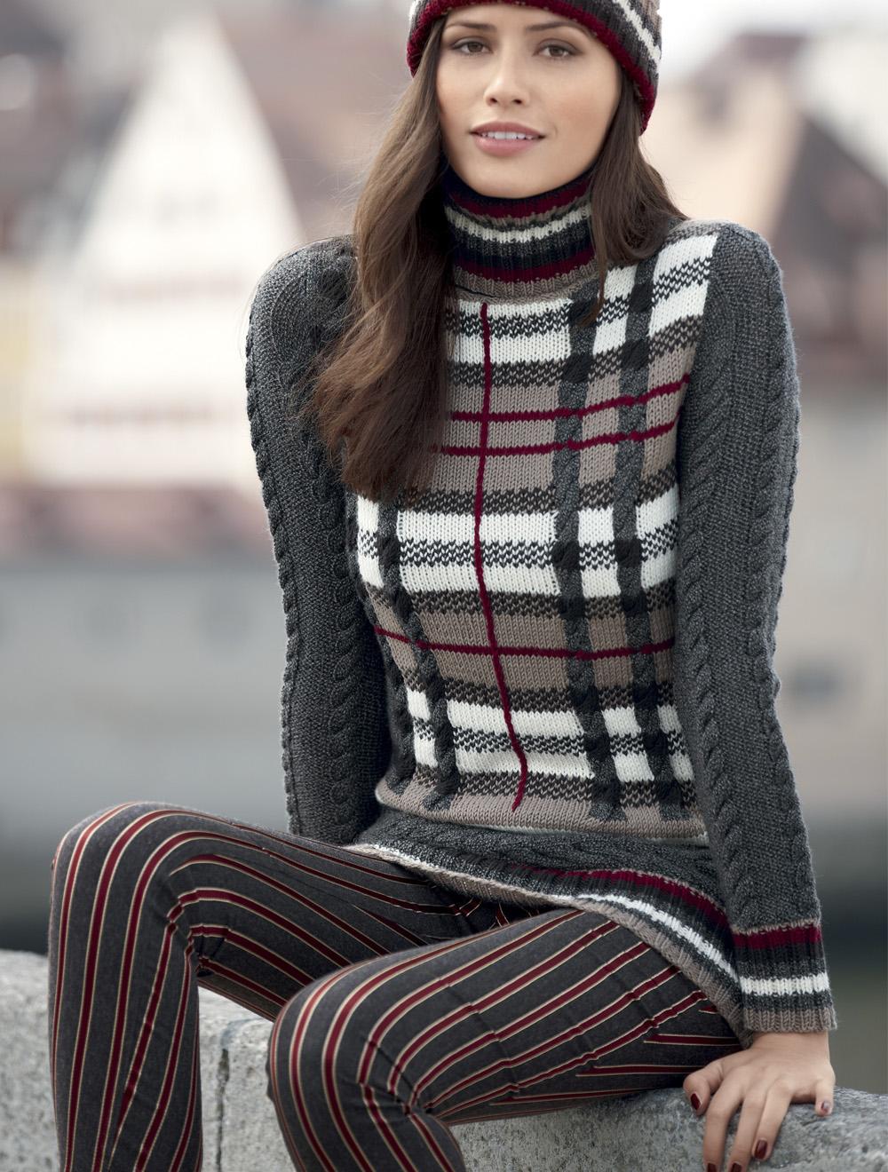 схема вязания спицами свитера под горло