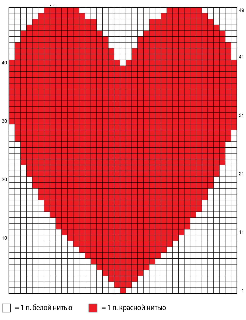схема вязания подушки сердечко спицами