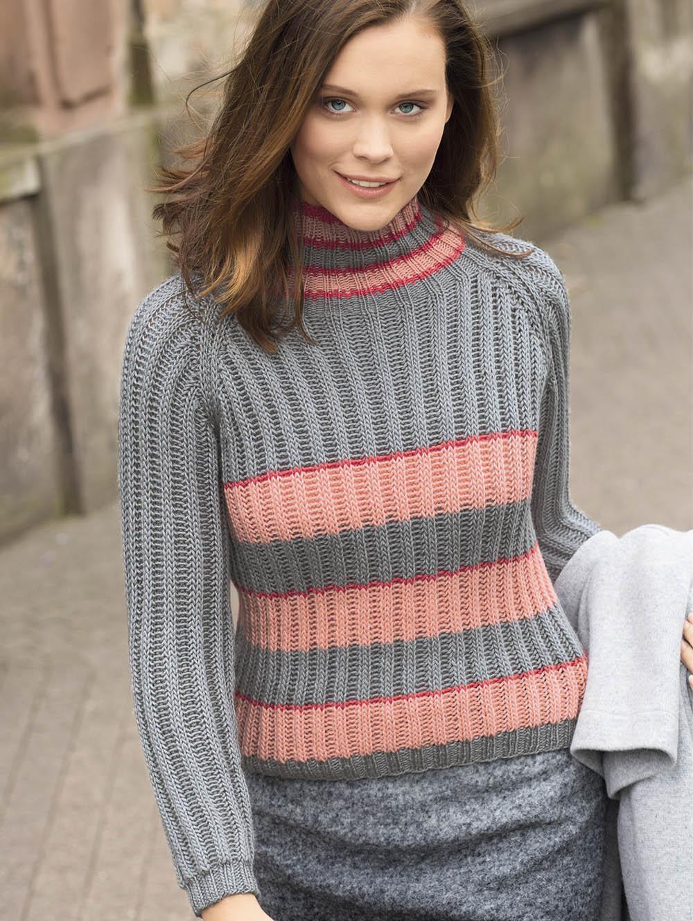 свитер в полоску с патентным узором схема вязания спицами вяжем