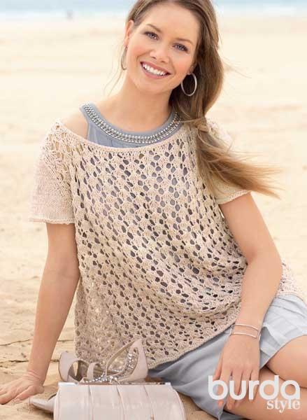 пуловер из хлопка схема вязания спицами вяжем пуловеры на Verenaru