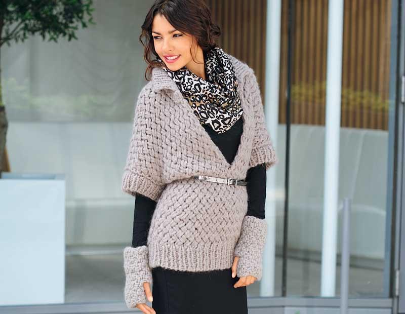 схемы вязания свитер с разрезом
