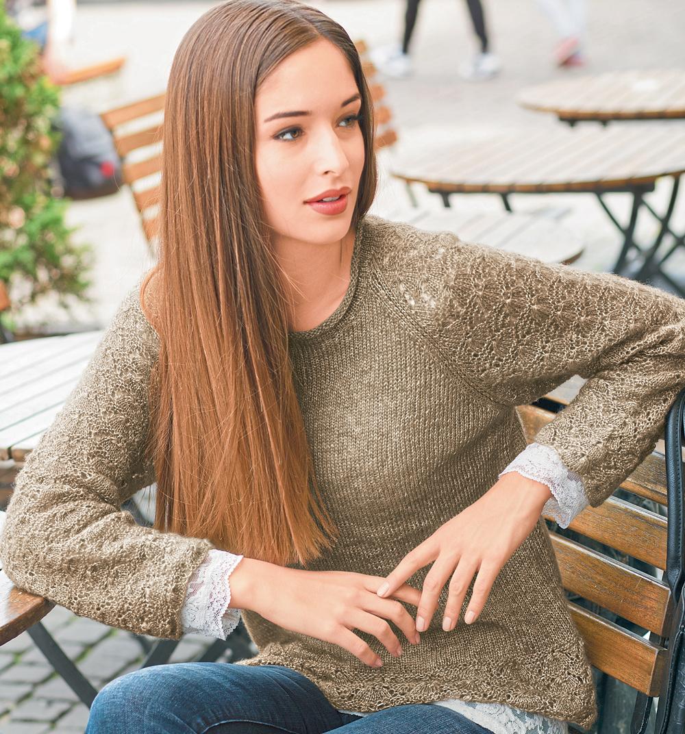 Нежный пуловер из тонкой пряжи