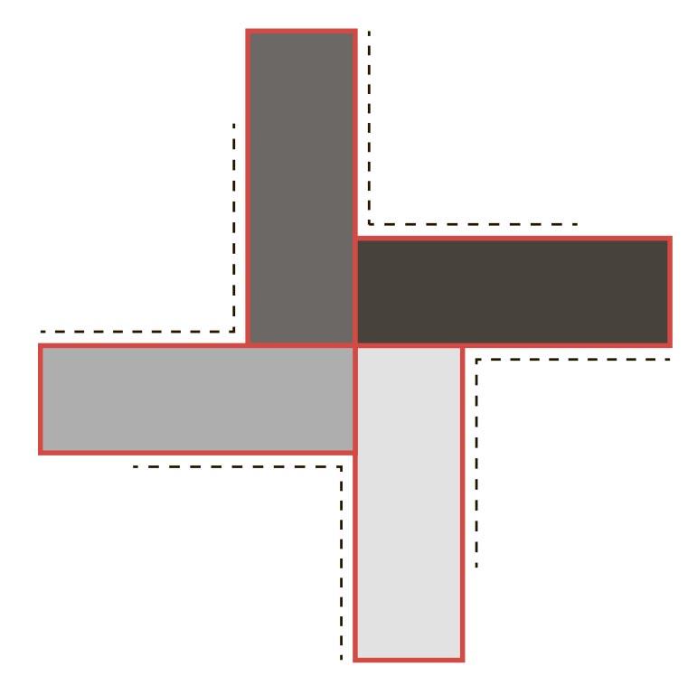 Сумка из прямоугольных мотивов