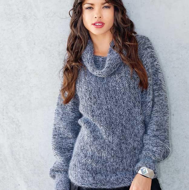 свитер с широким воротником схема вязания спицами вяжем свитеры