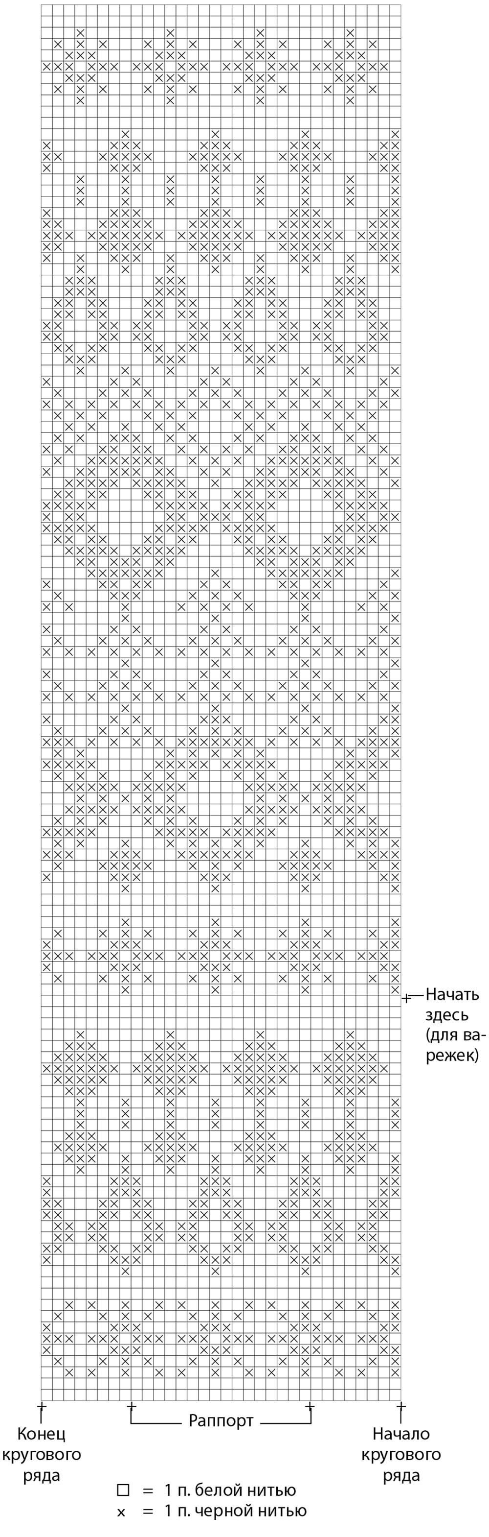 Варежки жаккардовый узор спицами схема описание