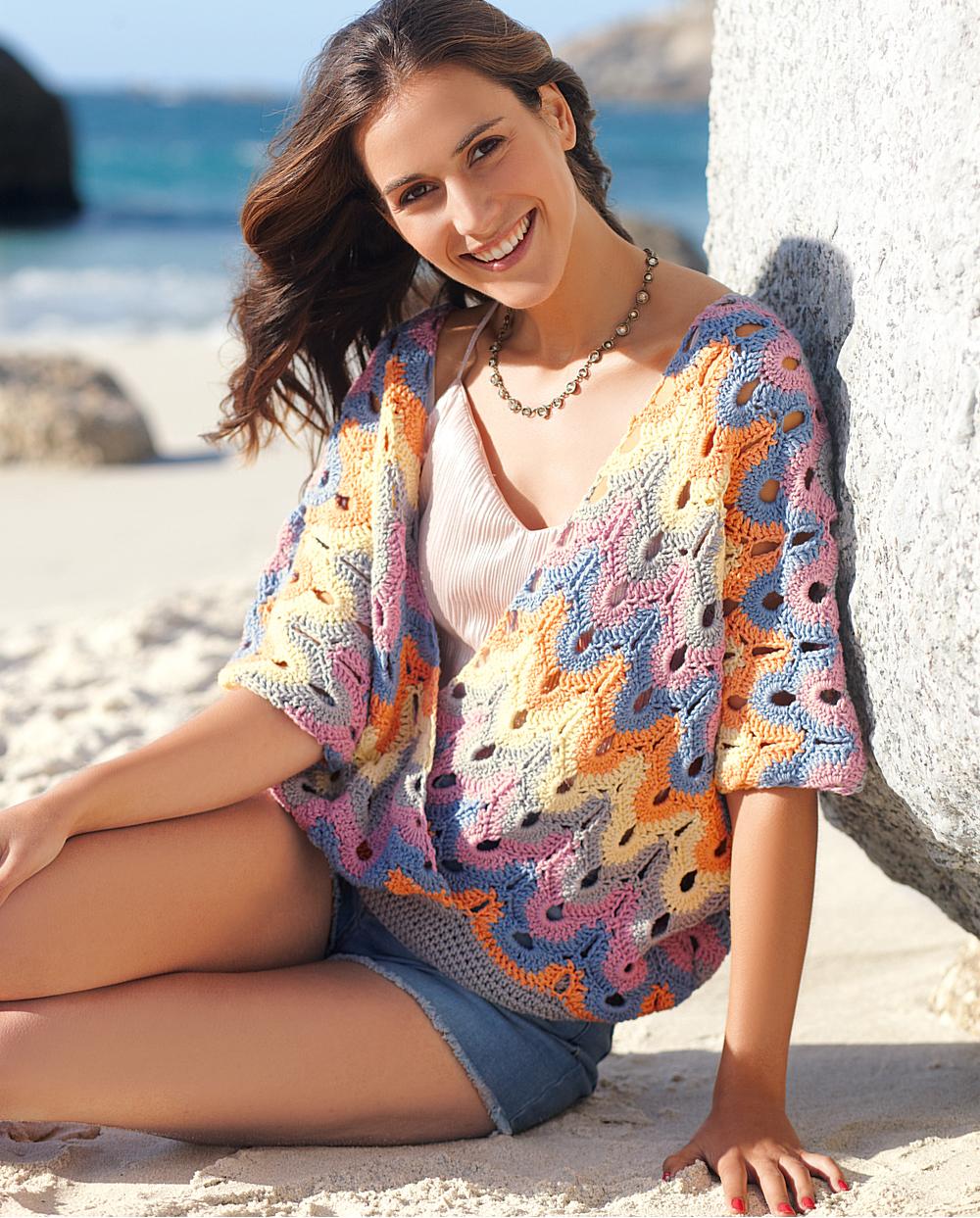 Ажурный пуловер из двух прямоугольников