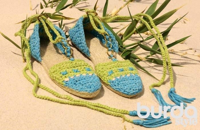 вязаные эспадрильи схема вязания крючком вяжем обувь на Verenaru