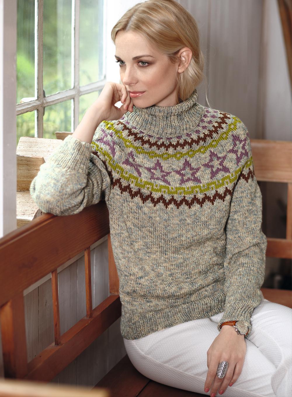 свитер с круглой жаккардовой кокеткой схема вязания спицами вяжем