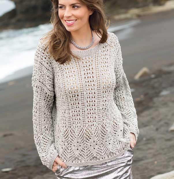 Пуловер с ажурным узором спицами схемы
