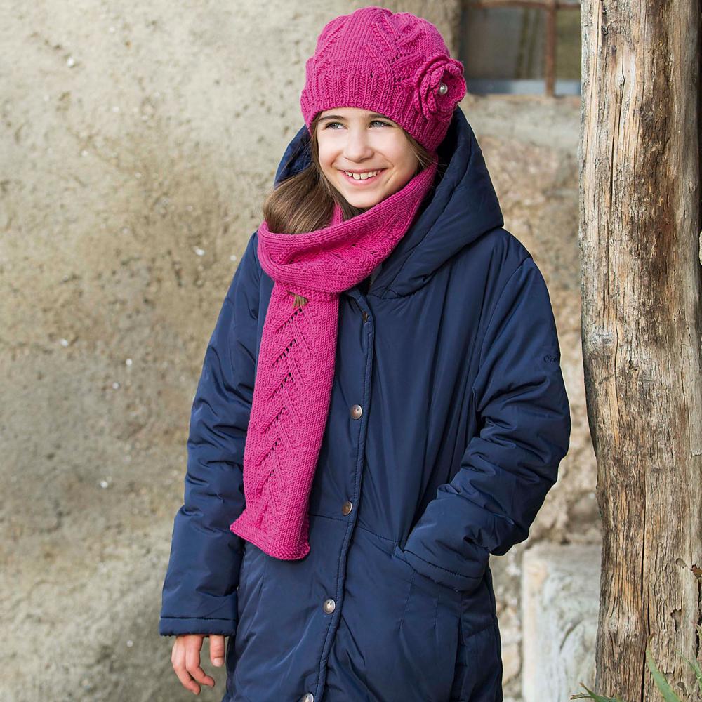 шарф и шапка с цветком для девочки схема вязания спицами вяжем