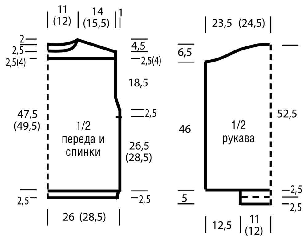 Меланжевый джемпер с сочетанием узоров